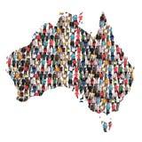 Immigrat multicultural da integração do grupo de pessoas do mapa de Austrália imagens de stock royalty free