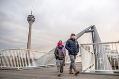Immigrated family enjoy their new life. In Duesseldorf, Germany Royalty Free Stock Image
