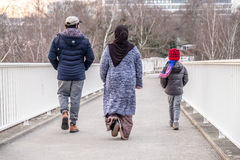 Immigrated family enjoy their new life. In Duesseldorf, Germany Stock Images