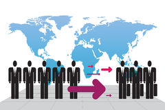 Immigration. Schematic illustration of human immigrants Royalty Free Stock Photo