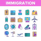 Immigration, Abroad Travel Vector Linear Icons Set vector illustration