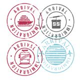 Immigration arrival circular stamps of ship and cableway and train and airplane in colorful silhouette. Vector illustration Stock Image