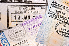 Immigration arrival stamps on passport Stock Photography