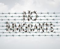 Immigration Ban Symbol. Immigration ban and refugee banned by government policy as extreme vetting of newcomers as a barbed wire fence shaped as text in a 3D Royalty Free Stock Photography