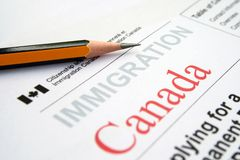Immigration Canada. Close up of Immigration Canada concept royalty free stock images