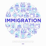 Immigration concept in circle with thin line icons: immigrants, illegals, baggage examination, passport, demonstration,. Humanitarian aid, social benefit, one royalty free illustration