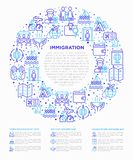 Immigration concept in circle with thin line icons: immigrants, illegals, baggage examination, passport, demonstration,. Humanitarian aid, social benefit, one stock illustration