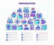 Immigration concept in half circle with thin line icons: immigrants, illegals, baggage examination, international flights, custom. S, refugee camp, social vector illustration
