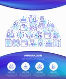 Immigration concept in half circle with thin line icons: immigrants, illegals, baggage examination, passport, international. Flights, customs, inspection royalty free illustration
