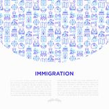 Immigration concept with thin line icons: immigrants, illegals, baggage examination, passport, international flights, customs,. Inspection, refugee camp stock illustration