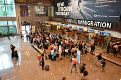 Immigration control at Changi International Airport. SINGAPORE- JUN 18, 2017: View of immigration control at Changi International Airport in Singapore royalty free stock image