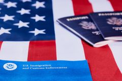 Immigration and Customs enforcement. Banner with lettering US Immigration and Customs enforcement next to American passports on American flag background royalty free stock photography