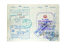 Immigration and Customs Stamps Royalty Free Stock Photography