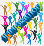Immigration 3d word people figures. Immigration 3d word people colorful figures vector image Stock Photo