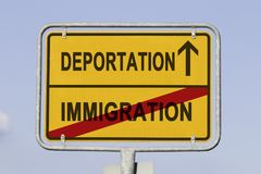 Immigration deportation. Yellow road or town sign informing that immigration is behind and deportation is ahead. Concept for national separation policy stock photos
