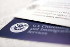 Immigration Documents. United States Immigration Documents. U. S. Department of Homeland Security. Welcome Letter stock photo