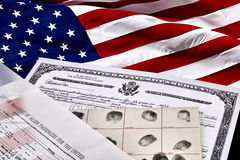 Immigration Documents with American Flag Royalty Free Stock Photo