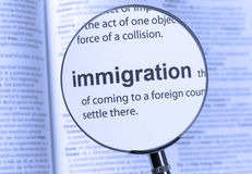 IMMIGRATION. Highlighted thru a magnifying glass royalty free stock photography