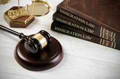 Immigration law book with judges gavel. Refugee citizenship law concept stock image