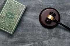 Immigration law book with judges gavel stock photography