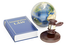 Immigration Law concept with gavel and globe. 3D rendering Stock Photo