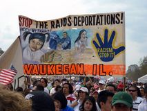 Immigration Law Protest Sign. Photo of immigration law protest sign at the mall in washington dc. on 3/21/10. This particular sign protests deportations and royalty free stock photos
