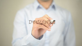Immigration , Man writing on transparent screen royalty free stock photos