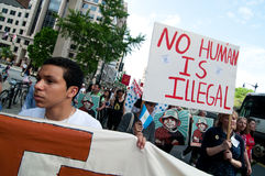 Immigration March: No Human Being is Illegal Stock Image