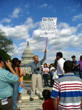 Immigration Opposition Protester. Photo of immigration opposition protester at the U. S. Capital in Washington D. C. on 5/1/06. The immigration issue is ongoing royalty free stock photo
