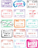 Immigration and passport travel stamps Royalty Free Stock Photos