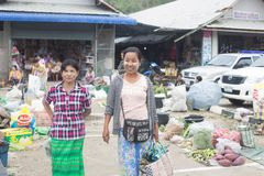 Immigration in Prachuap Khiri Khan Thailand - February, 03, 2018. Free Trader Burmese Sales of fresh In front of immigration   Prachuap Khiri Khan Province Royalty Free Stock Photos