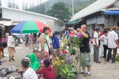 Immigration in Prachuap Khiri Khan Thailand - February, 03, 2018. Free Trader Burmese Sales of fresh In front of immigration   Prachuap Khiri Khan Province Royalty Free Stock Photography