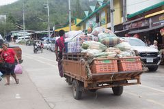 Immigration in Prachuap Khiri Khan Thailand - February, 03, 2018. Free Trader Burmese Sales of fresh In front of immigration   Prachuap Khiri Khan Province Stock Images