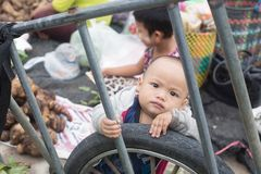 Immigration in Prachuap Khiri Khan Thailand - February, 03, 2018. Prachuap Khiri Khan Province,Thailand,-February,24,2018:Little boy looking at camera The mother Royalty Free Stock Photography