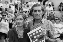 Man and Woman attending Immigration Rally. Immigration Rally held in Columbus Ohio on 06/30/18. Part of the nationwide rallies to protest Trump administration stock image