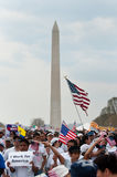 Immigration Rally in Washington. WASHINGTON, DC - MARCH 21: Some 200,000 immigrants' rights activists flood the National Mall on March 21, 2010 to demand stock photo