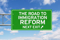 Immigration Reform word and arrow under clear sky Stock Photography