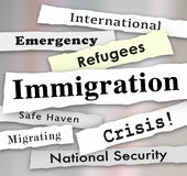 Immigration Refugee Crisis Newspaper Headlines Royalty Free Stock Image