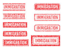 Immigration Rubber Stamps Grunge Style With Scratches Set Stock Photos