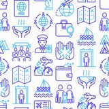 Immigration seamless pattern with thin line icons: immigrants, illegals, baggage examination, passport, international flights,. Customs, inspection, refugee stock illustration