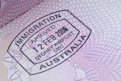 Australian passport immigration stamp Royalty Free Stock Photography
