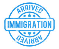 Immigration Stamp. Blue Immigration Stamp on Background Stock Photos