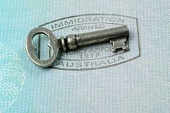 Immigration stamp and key Stock Image