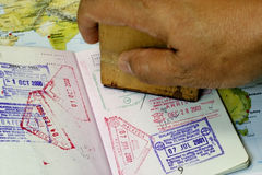 Immigration Stamp on Passport Stock Image
