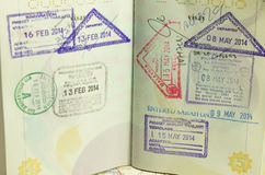 Immigration stamp. Passport Stamps Stock Images