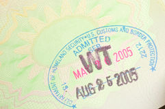 Immigration stamp for USA Royalty Free Stock Photo
