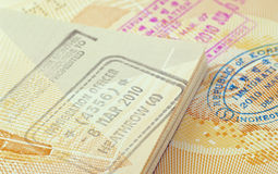 Immigration stamps Royalty Free Stock Photos