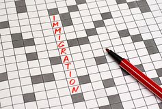 immigration Texto nas palavras cruzadas Letras vermelhas foto de stock