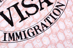 Immigration visa document stamp passport page close up Stock Photography