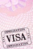 Immigration visa stamp passport page close up Stock Photos